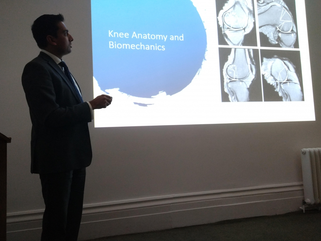 Mr Navraj Atwal, Consultant Orthopaedic Surgeon discussing sporting injuries of the knee at the Cobalt Centre, Cheltenham.